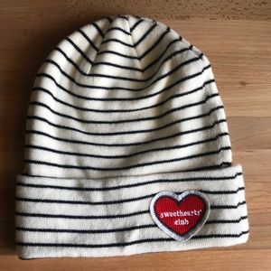 H&M White and Black Striped Sweetheart Club Hat